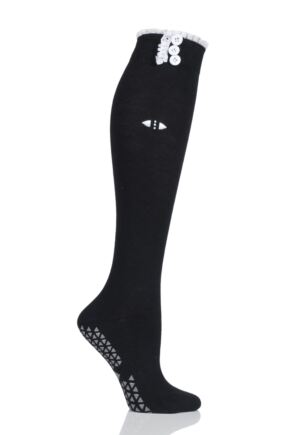 Ladies 1 Pair Tavi Noir Selah Knee High Yoga Organic Cotton Socks with Grip