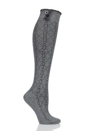 Ladies 1 Pair Tavi Noir Selah Knee High Yoga Organic Cotton Socks with Grip