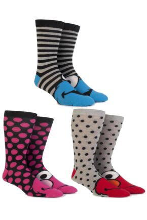 Ladies 3 Pair SockShop Sesame Street Socks