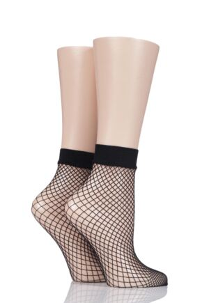 Ladies 2 Pair Elle Classic Fishnet Anklet Socks Black One Size