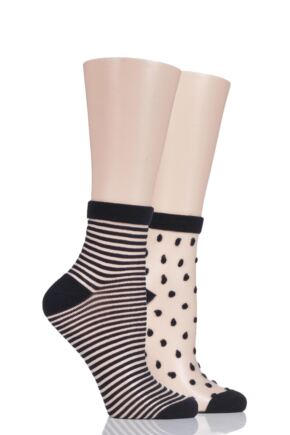 Ladies 2 Pair Elle Bamboo Sheer Stripe and Spot Anklet Socks Black 4-8