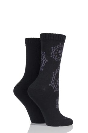 Ladies 2 Pair Elle Paisley Patterned Cashmere Blend Socks