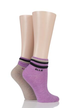 Ladies 2 Pair Elle Frilly Welt Cashmere Blend Ankle Socks