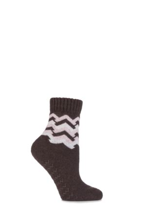 Ladies 1 Pair Elle Wool Blend Zig Zag Slipper Socks