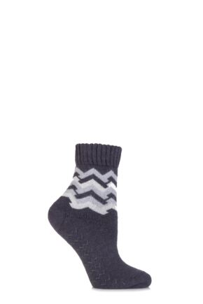 Ladies 1 Pair Elle Wool Blend Zig Zag Slipper Socks Carbon Frame 4-8