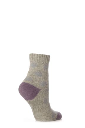 Ladies 1 Pair Elle Dotty Angora Bed Socks Light Grey / Duck Egg