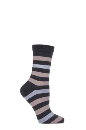 Ladies 1 Pair Elle Wool and Viscose Striped Socks Charcoal 4-8