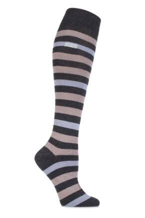 Ladies 1 Pair Elle Wool and Viscose Striped Knee High Socks