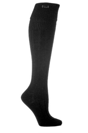 Ladies 1 Pair Elle Wool Ribbed Knee High Socks with Cuff Black