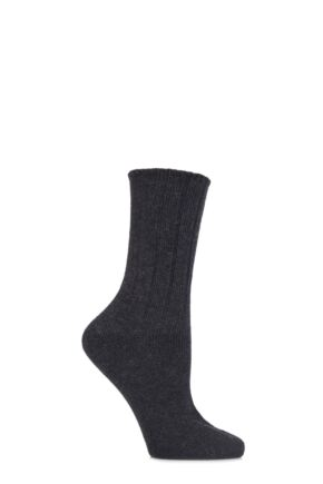 Ladies 1 Pair Elle Wool and Viscose Ribbed Bed Socks