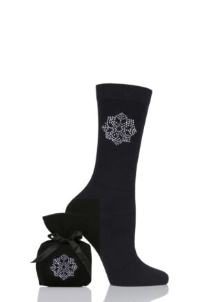 Ladies 1 Pair Elle Diamante Socks