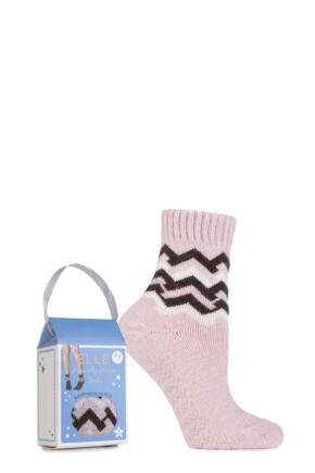 Ladies 1 Pair Elle Gift Boxed Wool Blend Zig Zag Slipper Socks