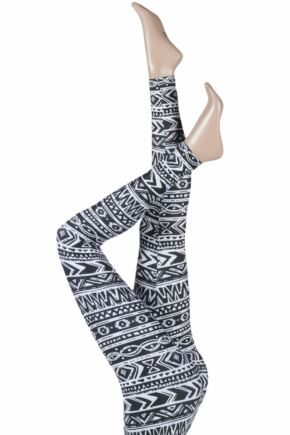 Ladies 1 Pair Silky Aztec Fair Isle Design Everyday Leggings Black / White Large