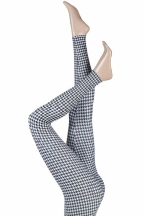 Ladies 1 Pair Silky Houndstooth Design Everyday Leggings Black / White Large