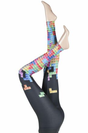 Ladies 1 Pair Silky Tetris Block Design Everyday Leggings