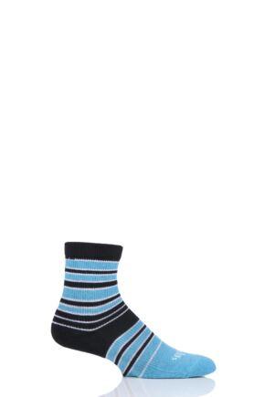 Mens and Ladies 1 Pair Thorlos Striped Quarter Socks Turquoise 3-5.5 Unisex