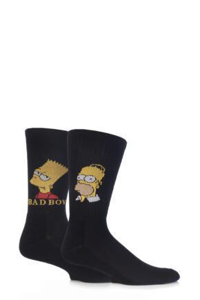 Mens 2 Pair TM The Simpsons Homer and Bart Socks with Cushioned Sole 25% OFF This Style