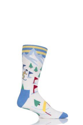 Mens 1 Pair Moustard Skiing Cotton Socks White 7.5-11.5