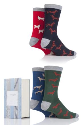 Mens 4 Pair Thought Dog Breed Bamboo and Organic Cotton Socks In Gift Box