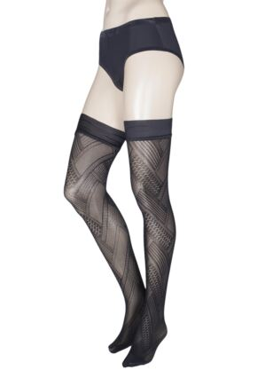 Ladies 1 Pair Trasparenze Soave Patterned Opaque Hold Ups