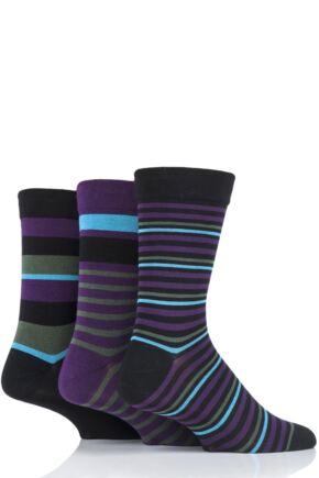 Mens 3 Pair SOCKSHOP Comfort Cuff Gentle Bamboo Striped Socks with Smooth Toe Seams Black 7-11 Mens