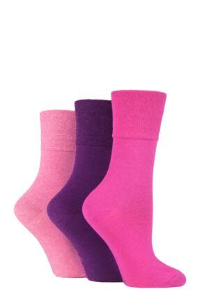 Kids 3 Pair Gentle Grip Plain Cotton Socks Pink / Purple 12.5-3.5