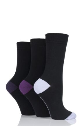 Ladies 3 Pair Jennifer Anderton Plain Cotton Socks