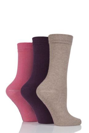 Ladies 3 Pair Jennifer Anderton Plain Cotton Socks Rose 4-8