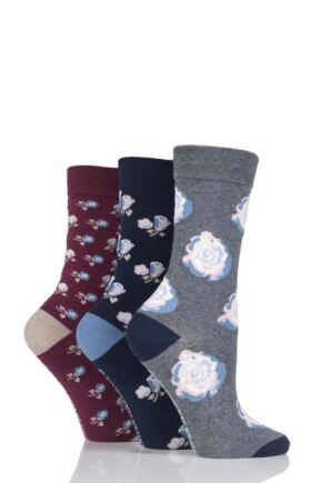 Ladies 3 Pair Jennifer Anderton Patterned Cotton Socks