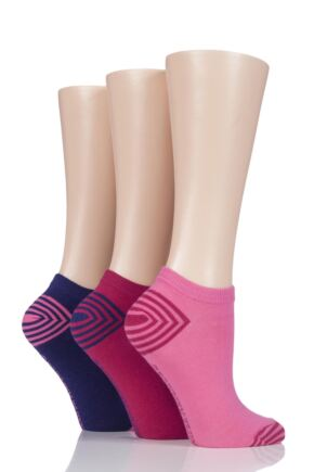 Ladies 3 Pair Jennifer Anderton Plain Cotton Trainer Socks Pink 4-8