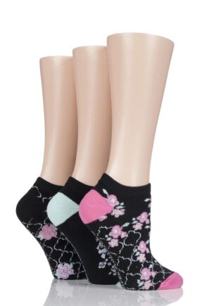 Ladies 3 Pair Jennifer Anderton Patterned Cotton Trainer Socks