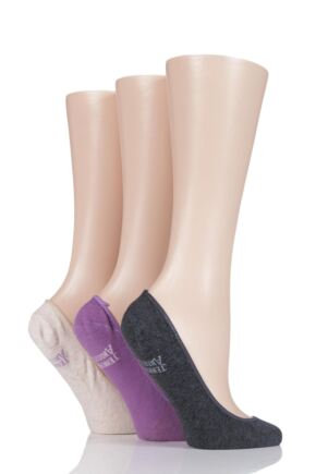 Ladies 3 Pair Jennifer Anderton Plain Cotton Invisible Socks