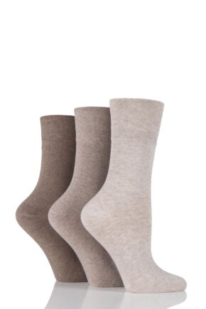 Ladies 3 Pair Gentle Grip Plain Cotton Diabetic Socks