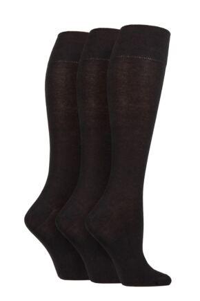 Ladies 3 Pair Gentle Grip Plain Knee High Socks