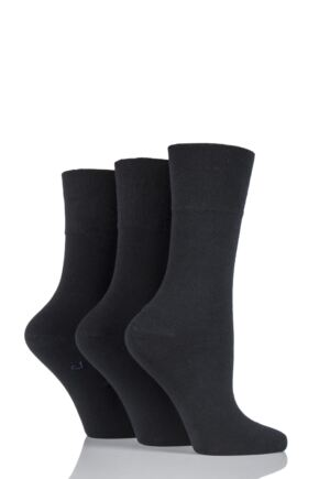 Ladies 3 Pair Gentle Grip Plain Cotton Diabetic Socks Black 4-8 Ladies