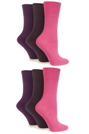 Ladies 6 Pair Drew Brady Comfort Cuff Plain Socks Pinks