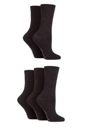 Ladies 5 Pair Gentle Grip Plain Socks