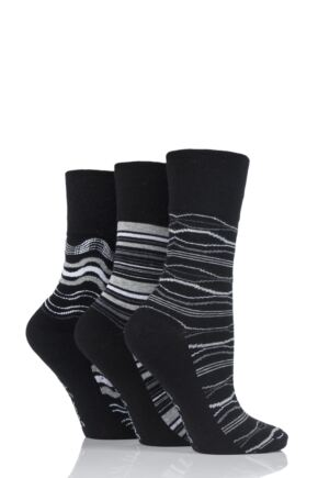 Ladies 3 Pair Gentle Grip Bessie Wave Stripe Cotton Socks