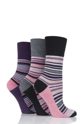 Ladies 3 Pair Gentle Grip Olivia Stripe Cotton Socks