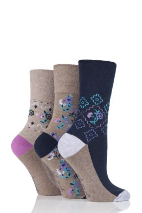Ladies 3 Pair Gentle Grip Sienna Folk Floral Cotton Socks