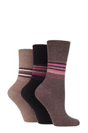 Ladies 3 Pair Gentle Grip Patterned and Striped Socks Stripes Neutrals 4-8 Ladies