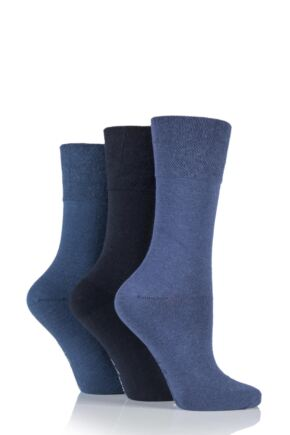 Ladies 3 Pair Gentle Grip Plain Mix Socks
