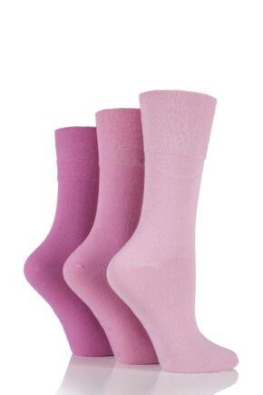 Ladies 3 Pair Gentle Grip Plain Mix Socks Pinks 4-8