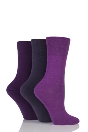Ladies 3 Pair Gentle Grip Plain Mix Socks Purple