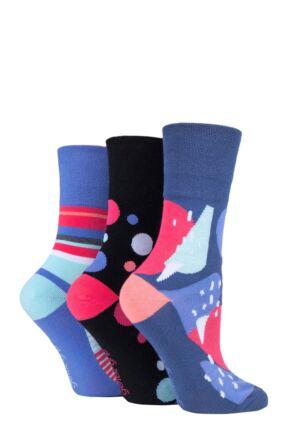 Ladies 3 Pair Gentle Grip Colourburst Socks