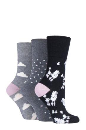 Ladies 3 Pair Gentle Grip Fun Feet Socks