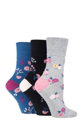 Ladies 3 Pair Gentle Grip Patterned and Striped Socks
