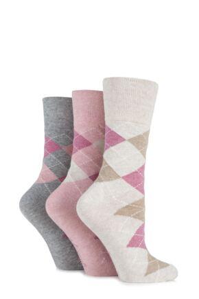 Ladies 3 Pair Gentle Grip Argyle Patterned Cotton Socks