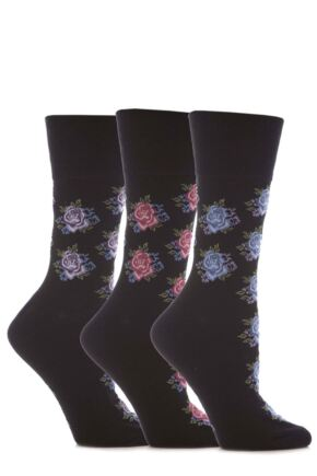 Ladies 3 Pair Gentle Grip Rose Patterned Cotton Socks Black 4-8 Ladies