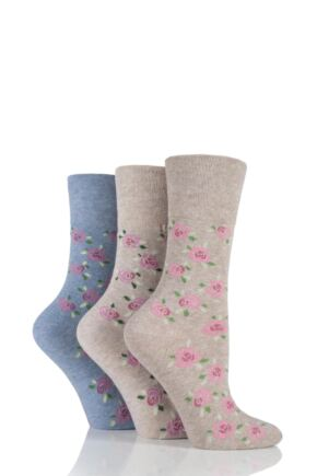 Ladies 3 Pair Gentle Grip Cubic Rose Cotton Socks Rose 4-8